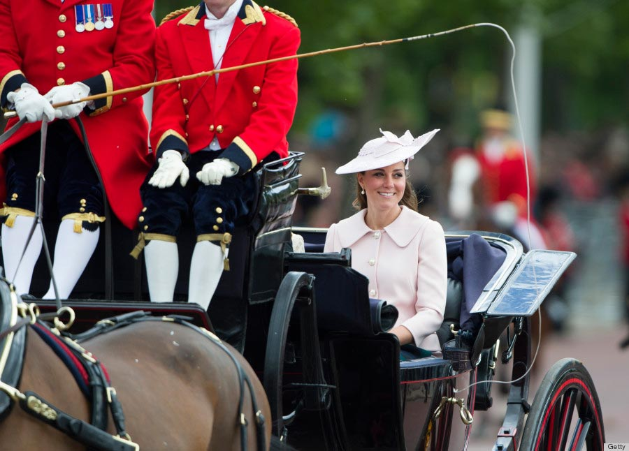 Kate Middleton travels by carriage along The Mall to the annual Trooping the Colour ceremony on June 15, 2013.