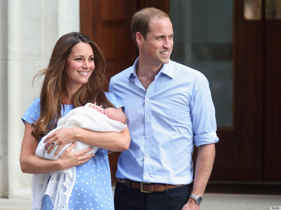 Kate Middleton and Prince William depart the Lindo Wing of St Mary's Hospital with their newborn son on July 23, 2013.