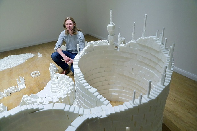 Sculptor Mark Revels in the Northern Version of Sugar Metropolis (Photo Credit: Project On Kickstarter)