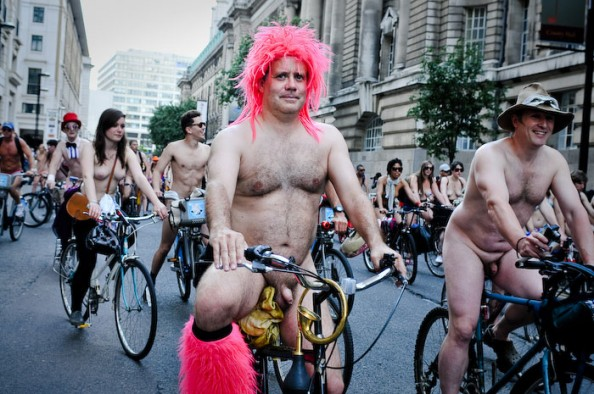 All became pictures of nudist bike protesters