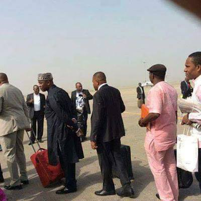 Minister of Transport, Rotimi Amaechi on the queue of a commercial flight | FACEBOOK