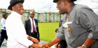 FILE: President Jonathan received by Bayelsa's Governor Dickson