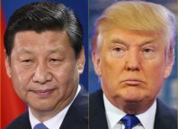 Chinese President Xi Jinping (left); US President Donald Trump China US Europe