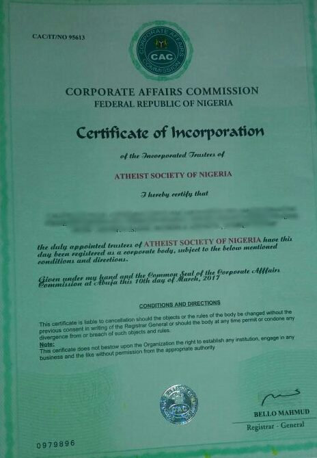 Atheist Society's certification of incorporation