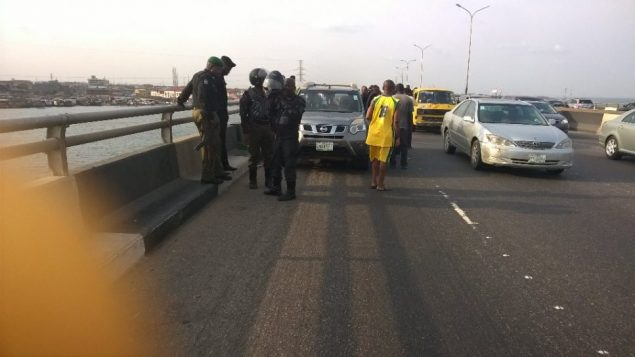 The scene of a suicide on 3rd Mainland Bridge, Sun, March 19, 207