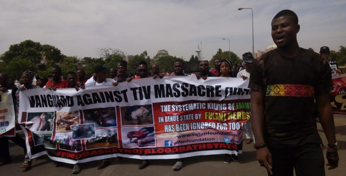 A Benue group, Vanguard Against Tiv Massacre staged a protest at the National Assembly on Thursday, March 16, 2017 against killing of Tiv people by Fulani herdsmen