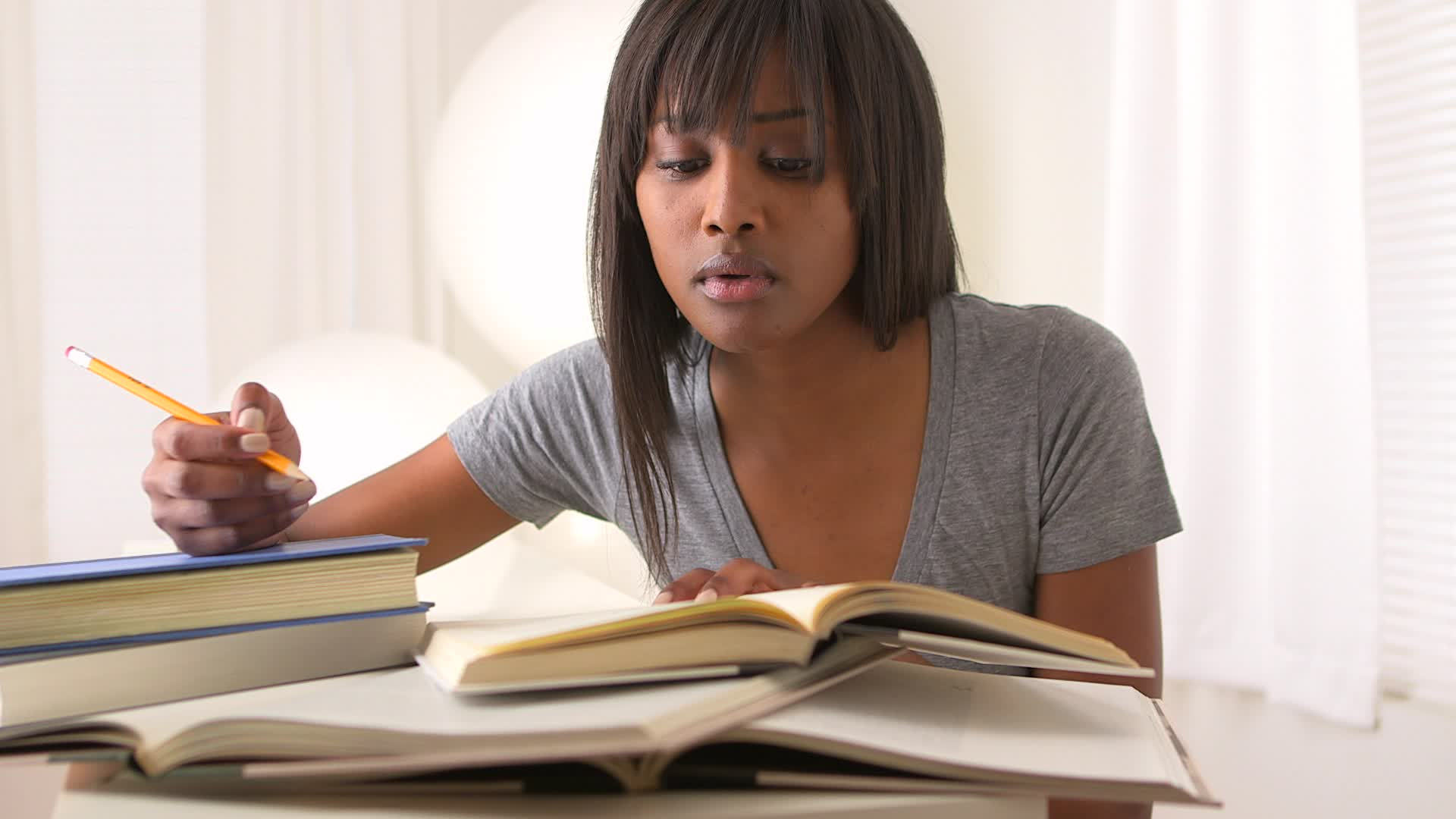 Student Homework Black Woman College Studying Footage 022541435 Prevstill