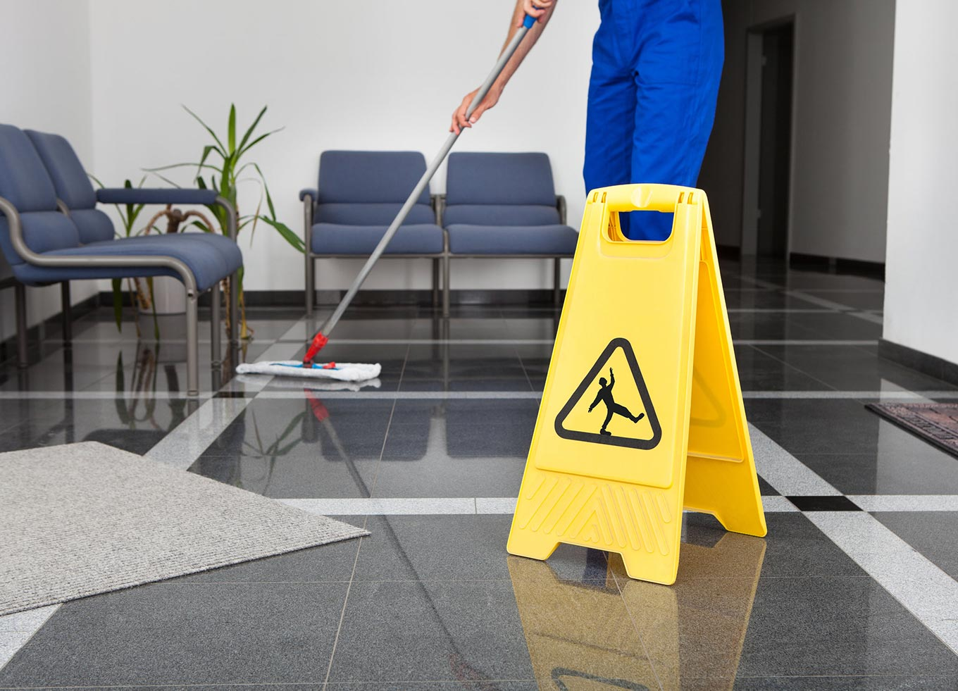how to clean a large office building