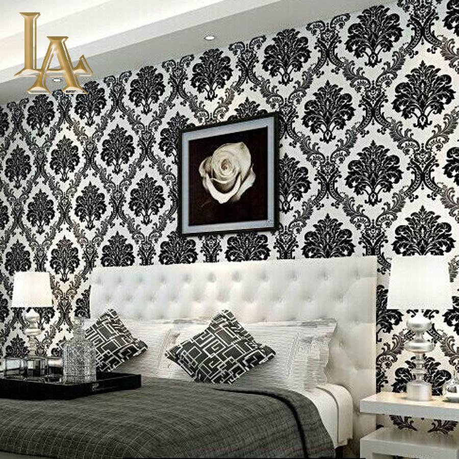 European Embossed Flocking Black Damask Wallpaper 3D Living Room Bedroom  Luxury Home Decor Modern Wall Paper